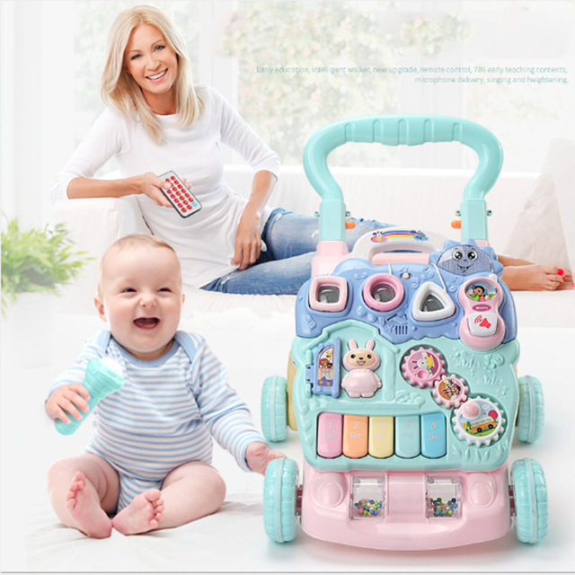 Baby Toddler Rider Push Infant Child Multi-Functional Walking Walker Anti-Rollover Adjustable Height 6-18 Months