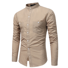HOT 2019 Autumn winter British youth big yards shirt men  long sleeve khaki Army green Slim Fit cotton casual