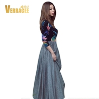 VERRAGEE Brand 2017 New Autumn Winter Collection Women High Waist Patchwork Vintage Maxi Dress