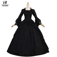 ROLECOS Black Lolita Long Dress For Women Party Lace Long Sleeve Gothic Lolita Dress Girls Medieval Period Victoria Dress 2018