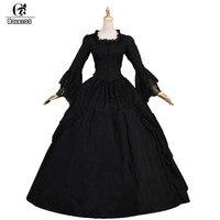 Rolecos черный Лолита длинное платье для Для женщин вечерние Кружево с длинным рукавом Готическая Лолита платье Обувь для девочек средневеков
