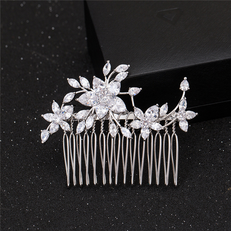 SLBRIDAL Crystals Rhinestones Copper Alloy Wedding CZ Hair Comb Bridal Cubic Zirconia Hair Accessorie Bridesmaids Women Jewelry in Hair Jewelry from Jewelry Accessories