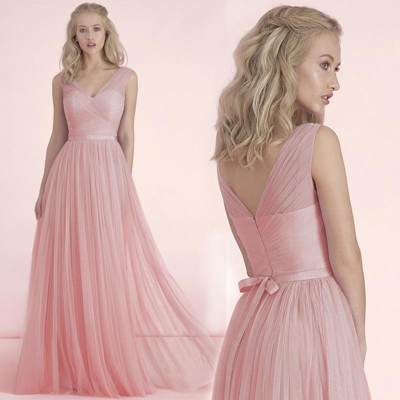 2017 Estilo Cruz Cuello Convertiable Blush Rosa vestidos de dama de ...