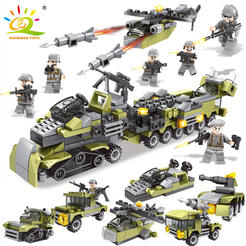 HUIQIBAO TOYS 296PCS Military Series Army Weapon Helicopter Soldier Building Blocks Compatible Legoe Figures DIY Bricks For Kids стоимость