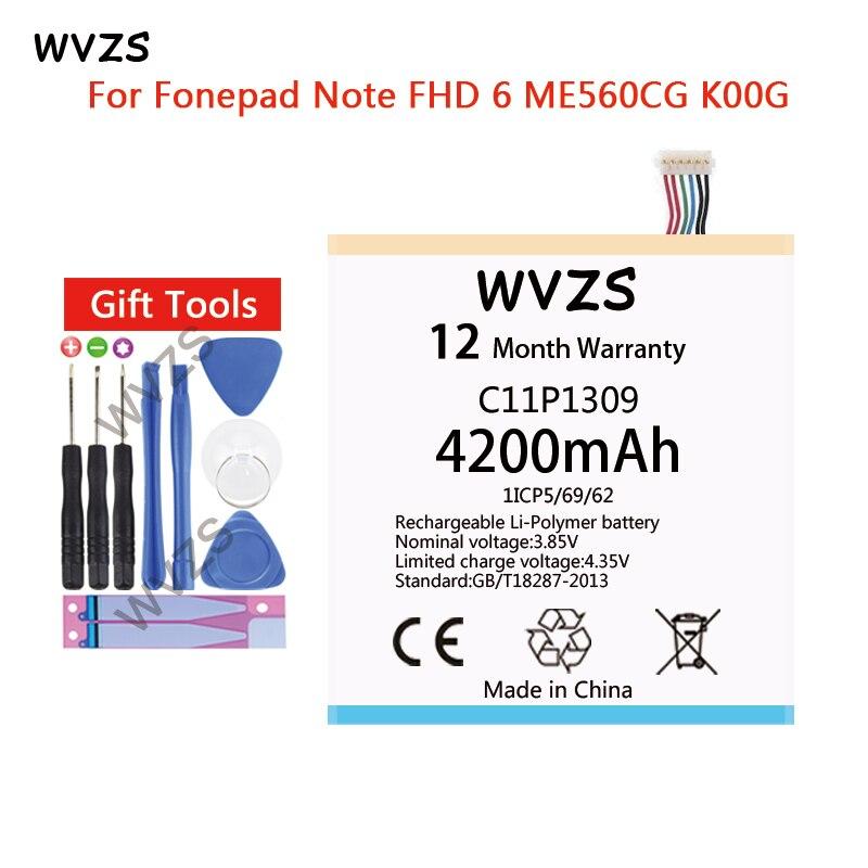 wvzs 4200mAh Li-Polymer Battery C11P1309 For Asus Fonepad Note FHD 6 ME560CG K00G Batterieswvzs 4200mAh Li-Polymer Battery C11P1309 For Asus Fonepad Note FHD 6 ME560CG K00G Batteries