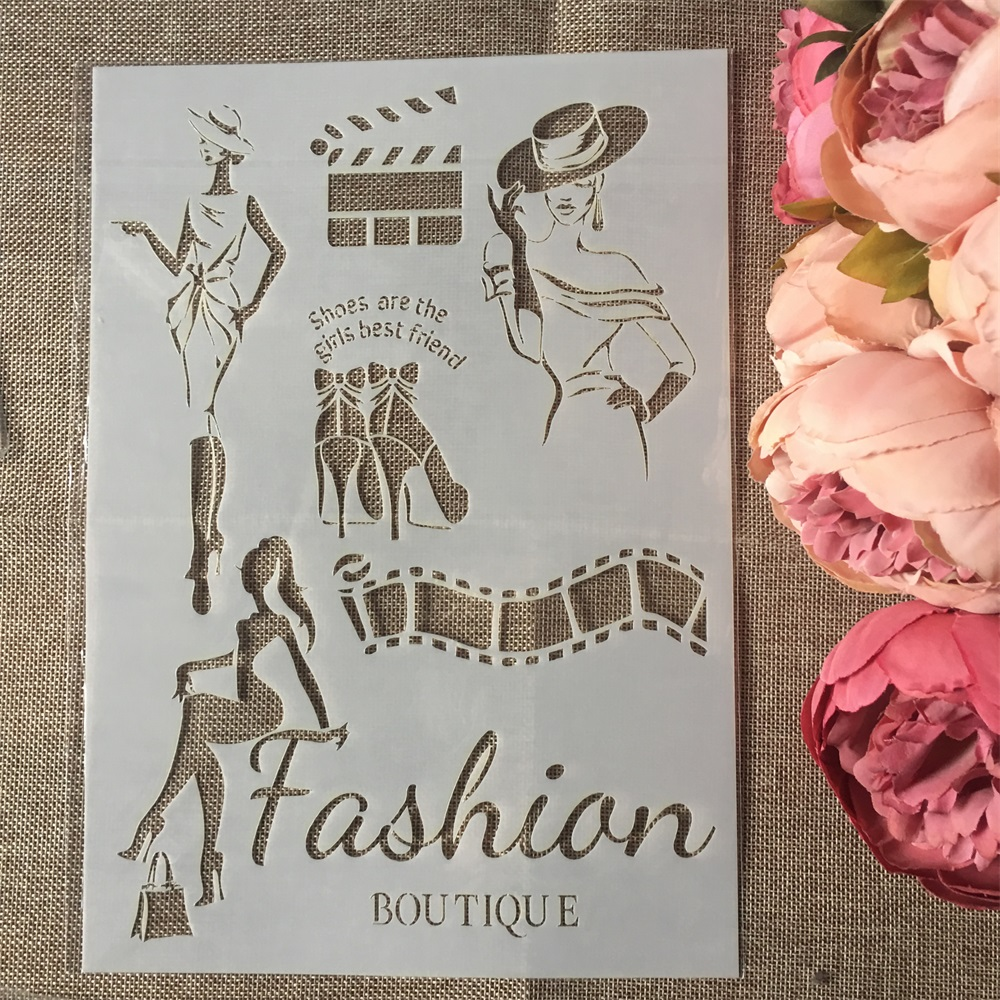 1Pcs A4 Fashion Lady DIY Layering Stencils Wall Painting Scrapbook Coloring Embossing Album Decorative Paper Card Template