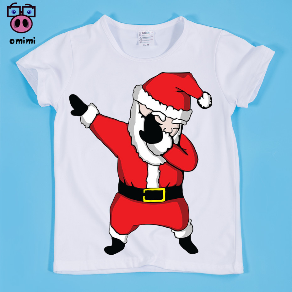 Size(90-160cm) Children's Cute Design Print T-shirt Boy and Girl Baby Christmas Clothes Tee Shirt