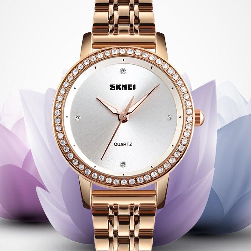 SKMEI Luxury Brand Ladies Dress Watch Diamonds Quartz Wristwatch Women Waterproof Stainless Steel Watches Relogio Feminino