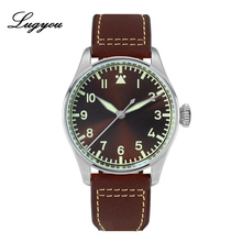 LUGYOU San Martin Automatic Pilot Flieger Watch for Men Stainless steel Super Luminous ST2130 Free Shipping Leather Brown Diver san martin sixty five men vintage diving watch stainless steel automatic watch 200 water resistant bronze ring retro wristwatch