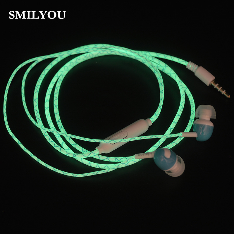 SMILYOU Glow In The Dark Earphones Luminous Headphones 3.5MM Glowing Headset In-Ear Stereo Sport Earpiece With Mic For Phone MP3 28mm convex stainless steel watchband replacement watch band butterfly clasp strap wrist belt bracelet black rose gold silver page 6