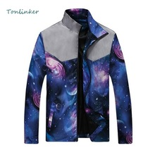 Tonlinker 2018 Spring Autumn Men Youth Jacket Starry sky Print Splice Long Sleeve Lapel New Fashion Trend Slim coat 1PC