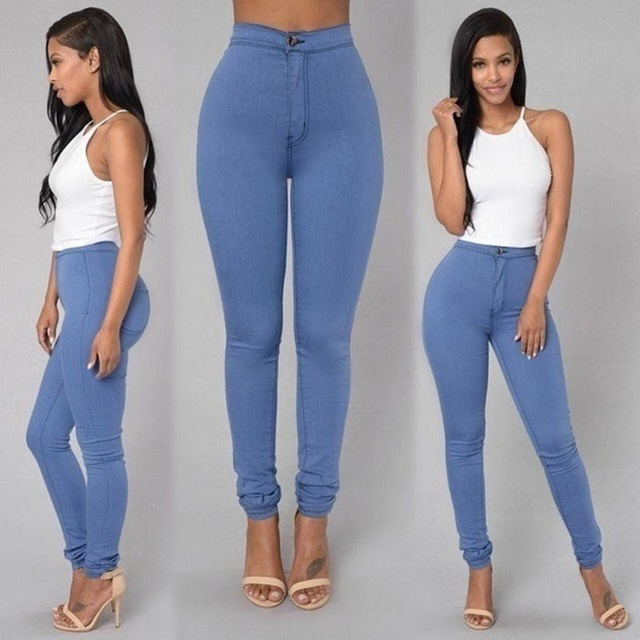 Thin High Waist Stretch Women Pencil Pants Tight Candy-colored Jeans Full Length Skinny White Black Blue Yellow Solid Color Jean