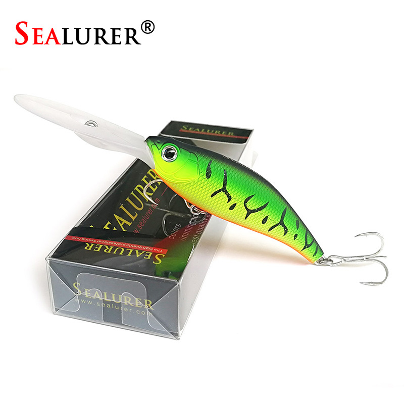 SEALURER New Minnow Fishing Lure 115mm 11.7g Floating Crankbait Artificial Hard Bait peche Bass Pike Wobbler Long Tongue Minnow fishing lure minnow crankbait artificial hard swim bait hook tackles 3d eyes new