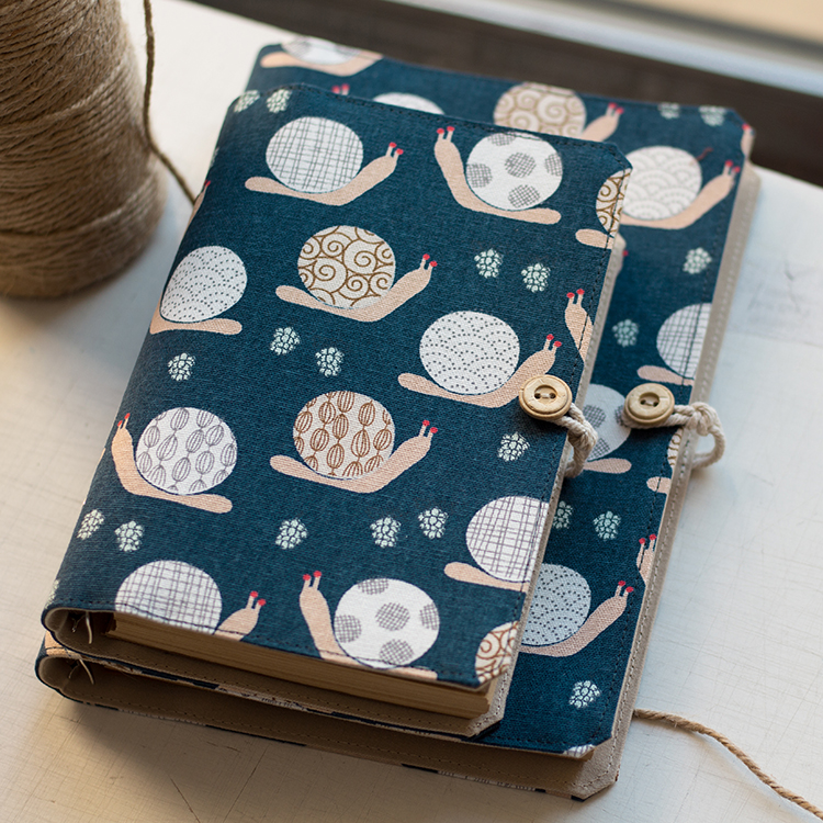 A5 A6 Handmard Loose Leaf Diary Notebook, Fabric Cloth Cute Snail Personal Agendar Journal Planner Notepad with Refill Papers or fabric camouflage leaf headgear