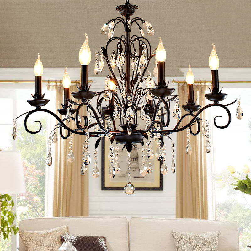 American Crystal Light Simple European Style Living Room Lamp Rustic Country Bedroom Vintage Iron Nordic Candle Restaurant light lamps new crystal pendant lights nordic european style living room restaurant bedroom modern minimalist american country iron