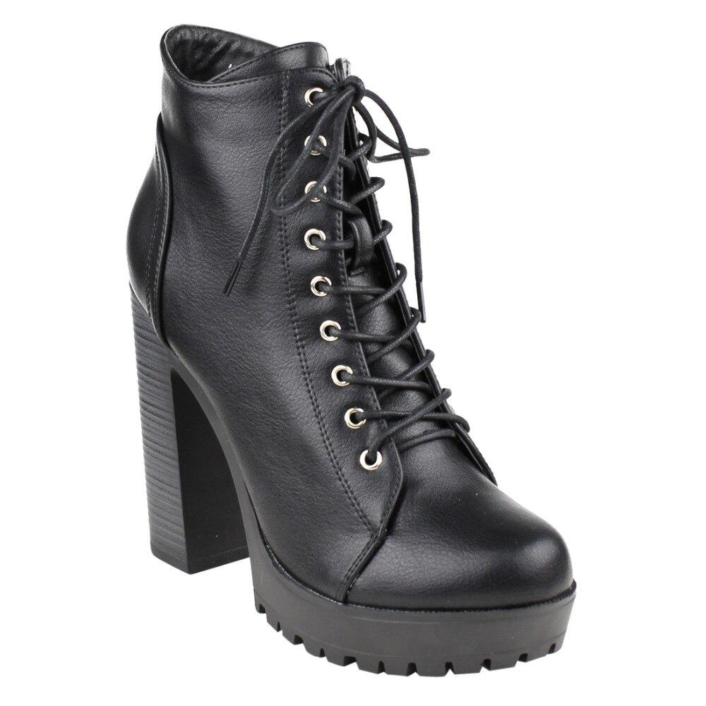 cfa4ea467e9d FM39 Women s Platform Lug Sole Stacked Chunky Heel Combat Booties-in ...