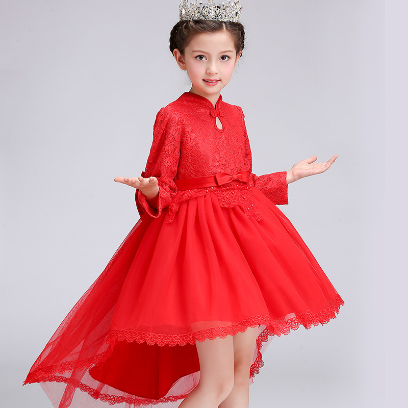 Long Sleeves Trailing Autumn Lace Elegant Wedding Flower Party Girl Dress Kids Baby Children Birthday Baptism Communion Dress elegant flower lace lacut cut wedding invitations set blank ppaer printing invitation cards kit casamento convite pocket