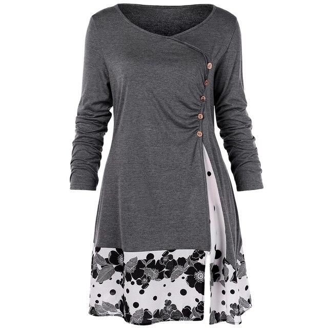 Wipalo плюс Размеры 5XL драпированные Цветочные длинная туника рубашки с длинным рукавом o-образным вырезом Кнопки Украшенные Для женщин блузка Повседневное осень футболки