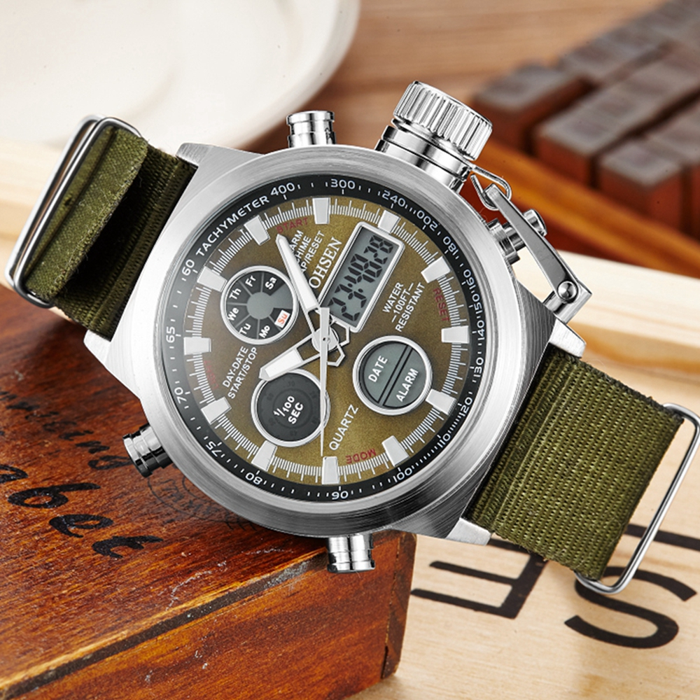 2016 New Arrival OHSEN Digital Quartz Men Fashion Wristwatch Dual time Display Canvas Strap Green Military Diving LCD Watches