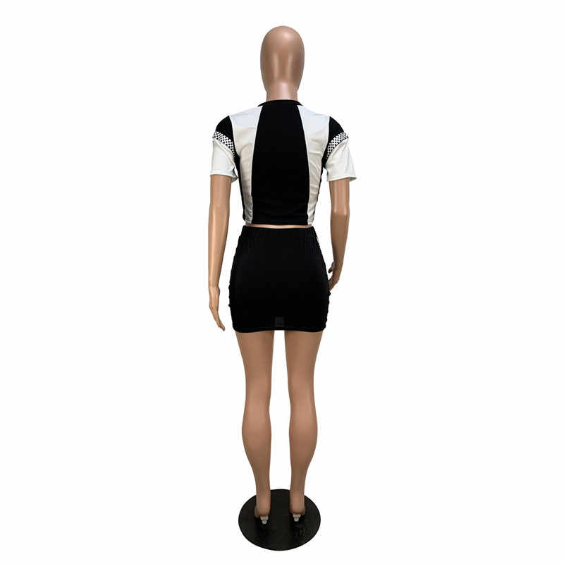 2020 Casual Zwei Stück Set Trainingsanzug Frauen Bodycon 2 Stück Sets Kurzarm Schachbrett Crop T Shirt Top und Rock sommer Set