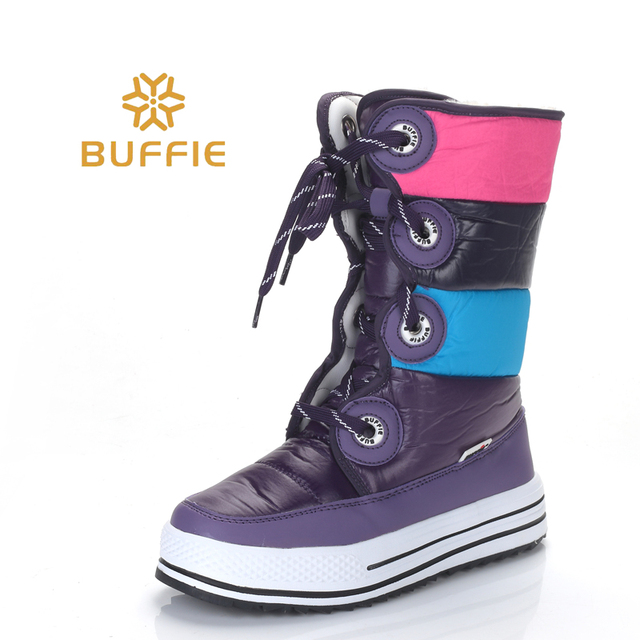 Sọc màu tím Cao Cấp Giày Bốt thời trang nữ Ủng chống trơn trượt chất lượng mùa đông giày Bé Gái Giày giá rẻ tàu sang trọng lông thú lớp lót Hot Phong Cách