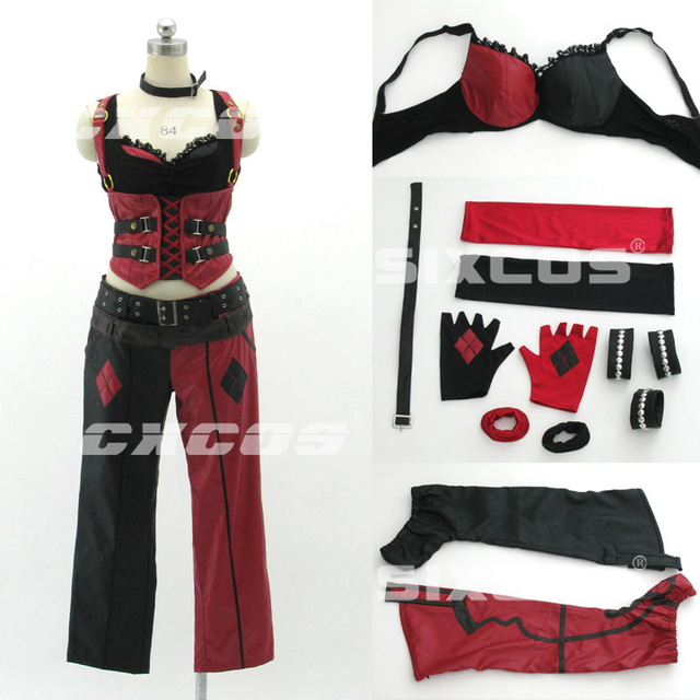 Hallowmas Christmas Game Anime Batman Arkham Asylum City Harley Quinn Party Fashion Unif ...