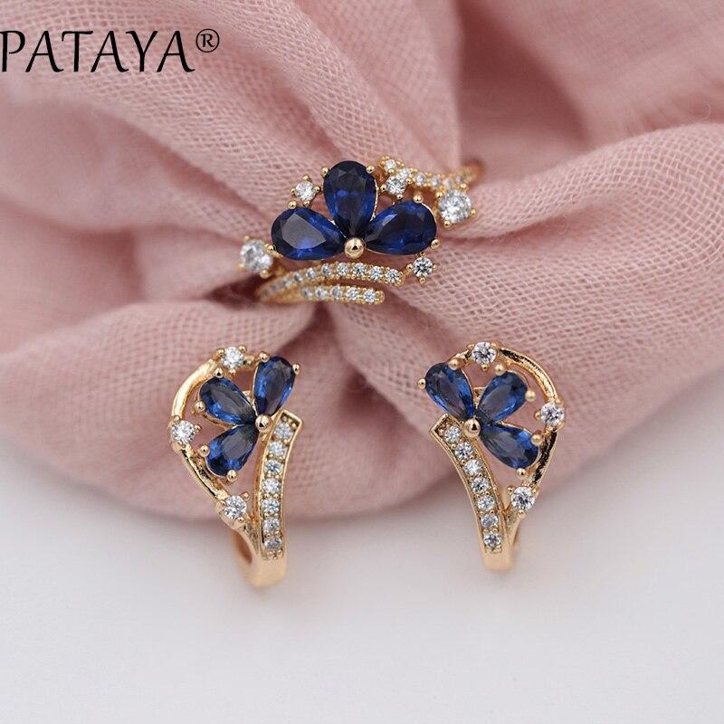 цена на PATAYA New Arrivals Women Fine 585 Rose Gold Party Jewelry Dark Blue Water Drop Petal Natural Zircon Dangle Earrings Rings Sets
