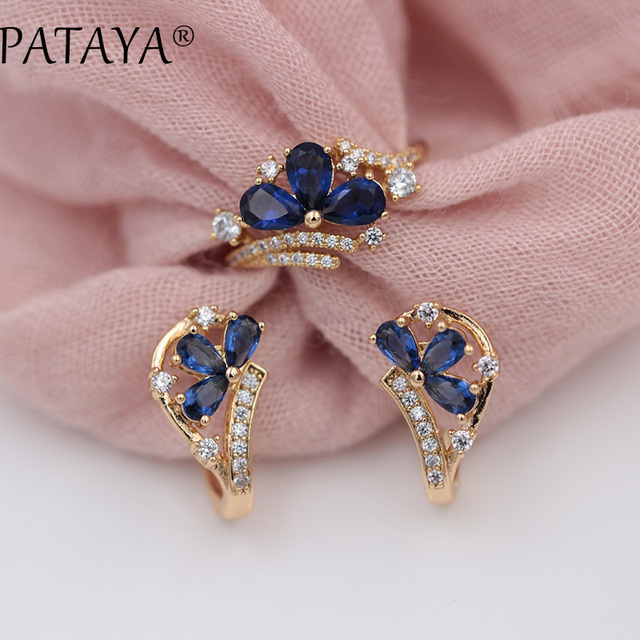 PATAYA New Arrivals Women Fine 585 Rose Gold Party Jewelry Dark Blue Water Drop Petal Natural Zircon Dangle Earrings Rings Sets