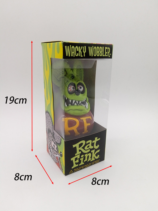 1pcs High quality PUNK RF Rat Fink Action Figure Doll 17.5cm 5 styles terror cartoon Halloween key chain d12 ontario knife rat 1