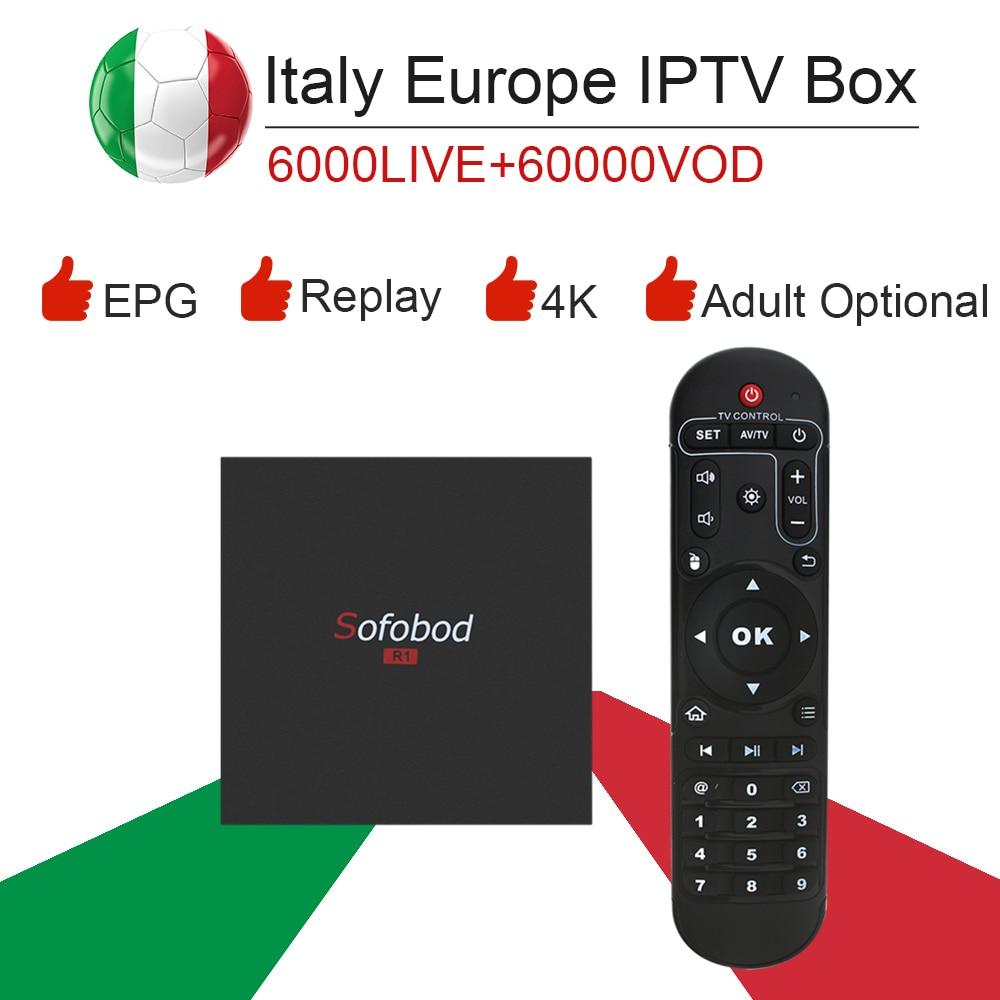 sofobod Android 7.1 S905 Smart TV Box&italy super iptv subscription Germany Albania Turkey bein sport netflix ExYu adult iptv