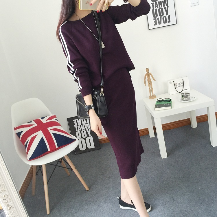 2016 New Arrival Women's Autumn Clothes Knitting Striped Pullover Top And Pencil Skirt Set Female Casual Suits 2 Colors In