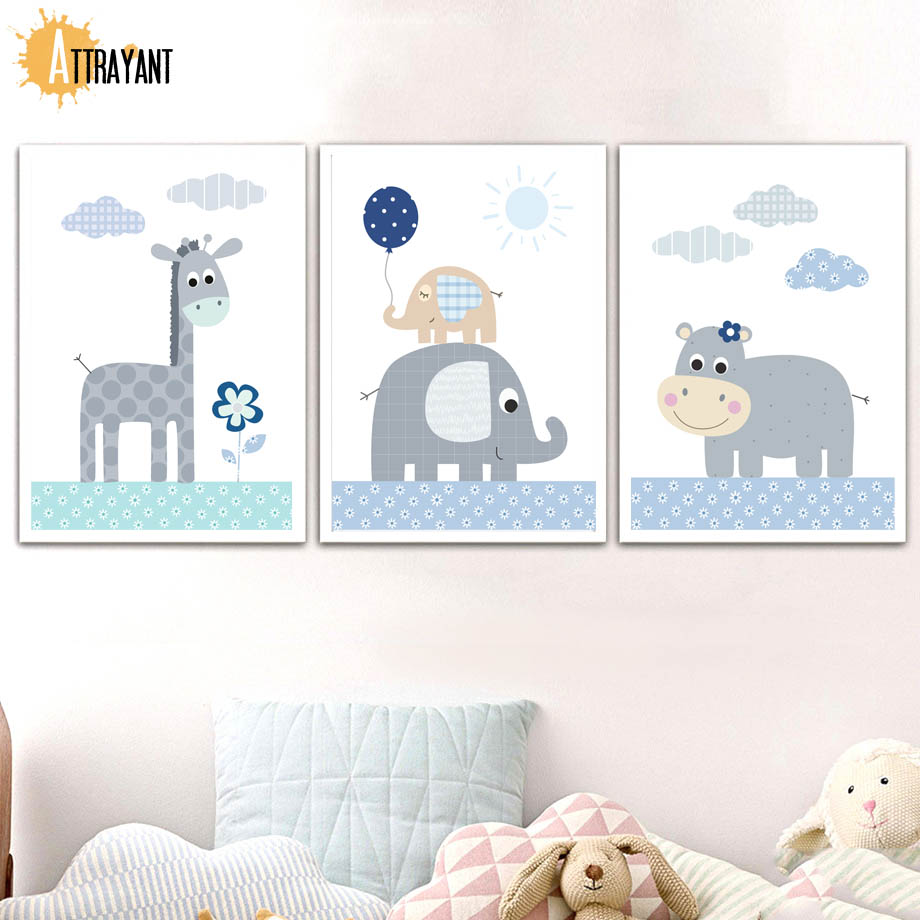 Giraffe, Posters, Girl, Baby, Elephant, And