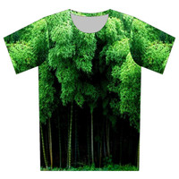 Plus Size XS-6XL 2017 New Fashion Summer Women/Men Bamboo Leaf Print Galaxy Brand 3d Plam Leaves Pullovers Tee Shirt Tops