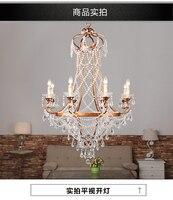 Американский дуплекс дом одежда для гостиниц складской зал хрустальная люстра винтажная Корона гладить свеча инженерные лампы