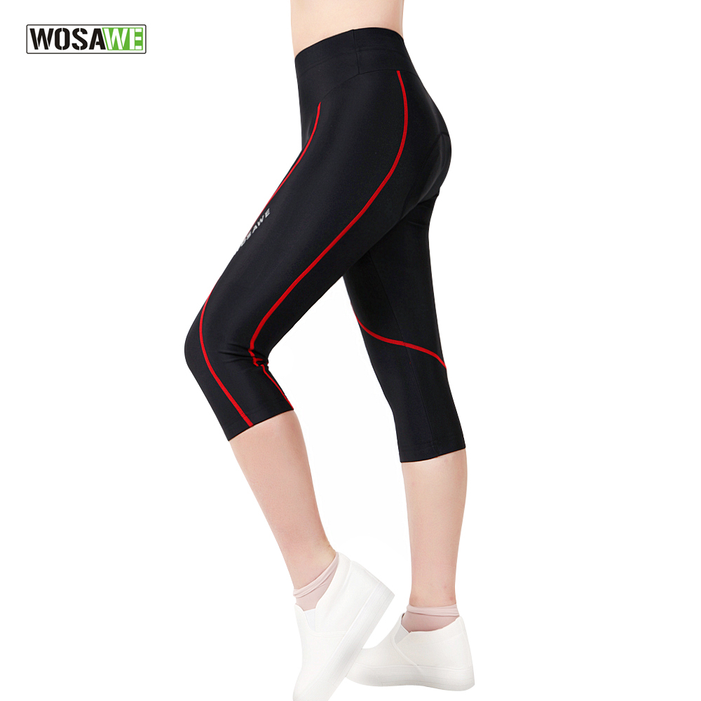 WOSAWE Female Ladies Girls Cycling Pant 3D Padded Bike Shorts Downhill Bicycle Tights 3/4 Pants Sports Riding Trousers Spandex