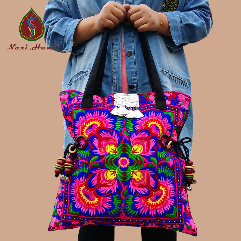HOT 2 Colors Bohemia cotton embroidery women big shoulder Bags Hmong handmade beads accessories waist design canvas bags a three dimensional embroidery of flowers trees and fruits chinese embroidery handmade art design book