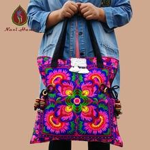 HOT 2 Farben Böhmen baumwolle stickerei frauen große umhängetaschen Hmong handgefertigten perlen zubehör taille design leinwand taschen