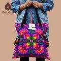 HOT 2 Cores Bohemia algodão bordado Hmong handmade beads acessórios de design cintura das mulheres grandes Sacos de ombro sacos de lona