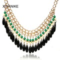 Bohemia Jewelry Necklace New Fashion Rhinestone Chain Collar Gold Necklace & Pendant Tassel Statement Necklace Women XY-N455
