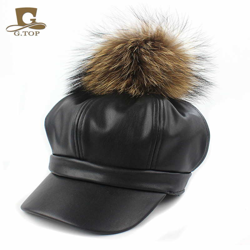 49c1f7a3d08 Women PU Leather Ascot Ivy Newsboy Berets Trucker Visor Peaked Cap Artist  Hat with king size Raccoon Fur Ball pom-in Berets from Apparel Accessories  on ...