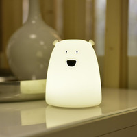 Colorful Big Bear Silicone LED Night Light USB Rechargeable Touch Sensor 2 Modes Children Baby Kids