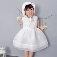 2019 Newborn White Dress For Baptism Baby Girl Sleeveless Lace Christening Gown Dress Toddler 1 Birthday Girl Party Infant Wear
