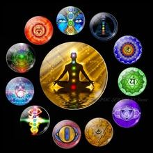5PCS/SET Magic Sign Zen Religion Jewelry 25mm Glass Cabochon Chakra Symbols Making Om Symbol Findings Accessories Gifts