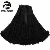 FOLOBE Black Dancewear Party Prom Skirts Tutu Tulle Skirts Knee Length Petticoat Women Girls Underskirt Faldas Saias TT009