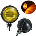 "Motorcycle Motorbike Moto parts 4"" Black Amber Lens Head Light Lamp For Harley Bobber Chopper Sportster Custom"