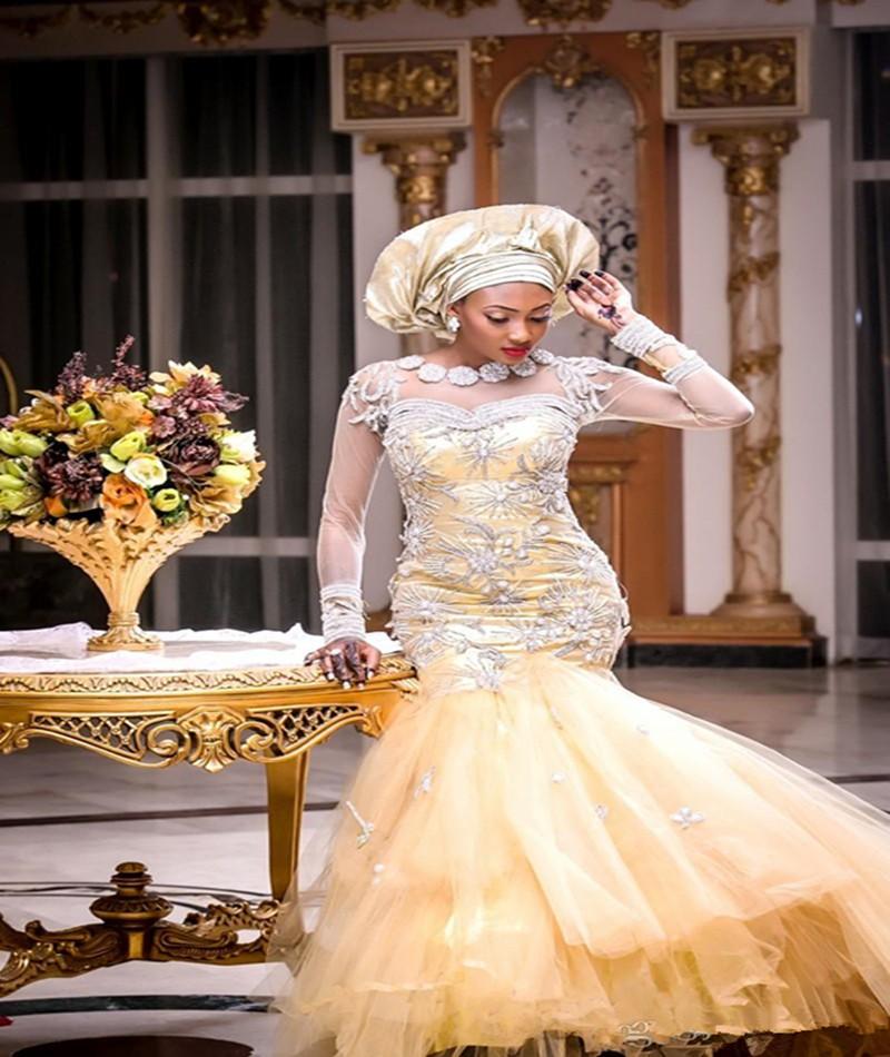 africain tradictional robe de mariage nigeria or robes de marieacutee avec cristal perles manches - Aliexpress Mariage