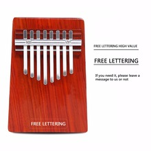 Free Lettering 8 Keys Wood Kalimba Thumb Piano African Traditional Music Instruments Mbira Finger Piano Custom Gift