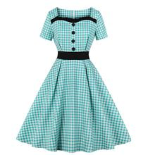 Women Plaid Midi Dresses Summer 2019 Fashion Party Elegant Robe Vintage A Line Swing Pin Up Casual School Rockabilly Dress Girl(China)