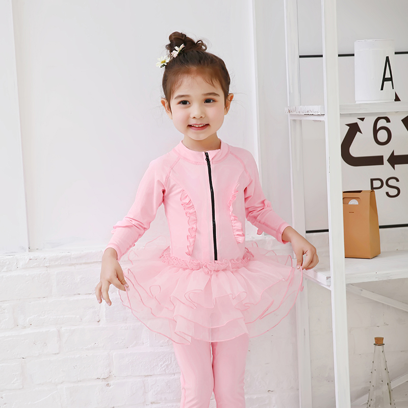 Lovely Girls Swimsuit 2018 Children Pink Lace Swimming Clothes Cute Kids Bathing Suit Swim Suit Long Sleeve  long Pant