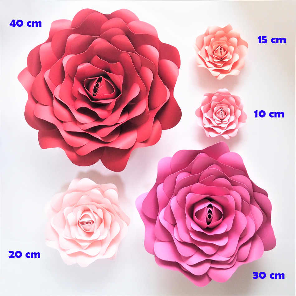 2018 Diy Half Made Giant Paper Flowers Rose Wedding Event Decorations Backdrops Deco Baby Nursery Baby Shower Video Tutorials